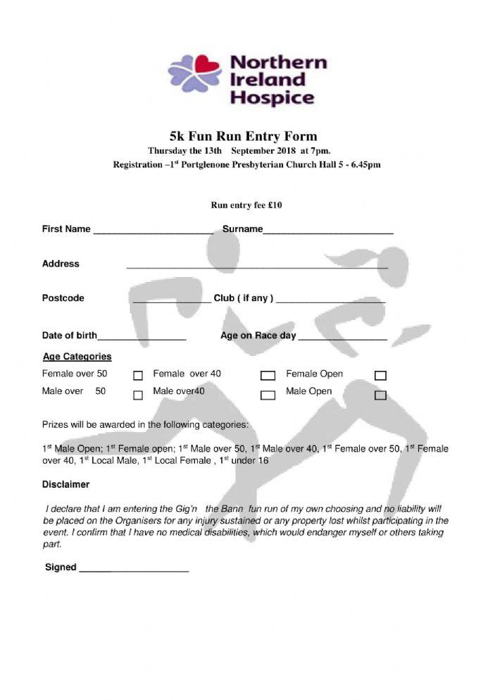 5k run registration form gig n the bann